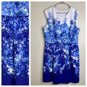Dressbarn Fit & Flare Blue Floral Dress 16